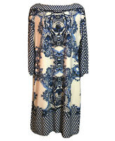 RONNI NICOLE Baroque Print Tunic Dress Stretch Shiftdress White Blue Women UK 12
