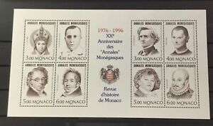 MONACO #1999. SHEET OF EIGHT FAMOUS PEOPLE.  20th ANNIV. ANNALES MONEGASQUES.