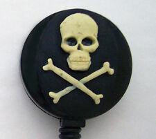 SKULL CROSSBONES Retractable Reel ID Badge Holder Key Ring Chain Skeleton Death