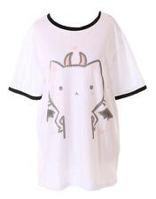 TP-181-6 Devil Satan Cat Cat White Graphic Long T-Shirt Harajuku Kawaii