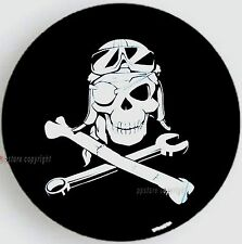 """SPARE TIRE COVER 24.5""""-26"""" w/ Mechanic Pirate Skull on tracker black sph-tr9"""