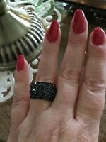 Size 7-5.65CTW ROUND BLACK SPINEL RHODIUM OVER STERLING SILVER RING