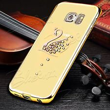 For Samsung Galaxy Phones - Bling Chrome Clear Gel Case Cover + Screen Protector