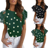 ❤️Womens Short Lace Sleeve Floral Print Tops Blouse Ladies Casual O Neck T-shirt