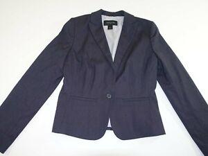 Ann Taylor Women's 1 Button Blazer Jacket Size 8 Dark Gray Suit Coat Lined EUC