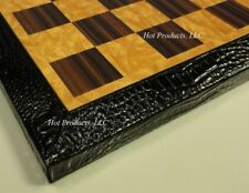 "15 1/2"" CHESS BOARD BLACK FAUX ALLIGATOR / CROCODILE TRIM"