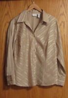 Covington women's 16W beige w/ gold colored striped button up long sleeve shirt