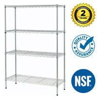 "Wire Shelving 36""x14""x54"" 4 Tier Layer Shelf Adjustable Steel Metal Rack Chrome"