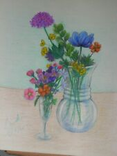 colored pencil drawing flowers in vases