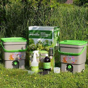 Bokashi Haushaltseimer Organico, 16 l, Doppelpackung SET mit EM u. Sprühflasche