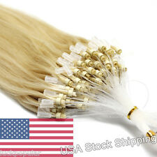 Real Brazilian Remy Human Hair Extensions Micro Ring Beads Tip Light Blonde 16""