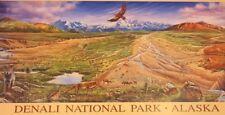 DENALI NATIONAL PARK WILDLIFE SEASONS OF TUNDRA AK  HYNES PRINT, 18 X 37'