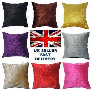 Large Plain Crush Velvet Square Cushion Covers 10 Colors