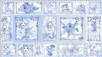 "24"" Fabric Panel - Quilting Treasures Loralie Floral Bleu Blue White Lady Blocks"