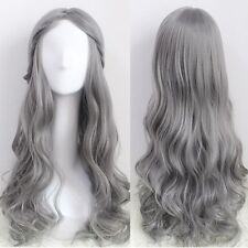 Cosplay Costume Glamour Gray Hair Harajuku Wig Long Wavy Curly Hair Part Bangs