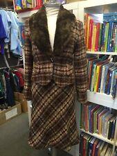Mexx Kostüm Jacke & Rock Wolle Braun Creme Karo 36 38 abnehmbarer Kragen 1A