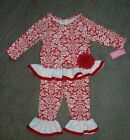 Peaches 'n Cream Baby Girls Red  White 2 Piece Outfit - Size 24 Months - NWT