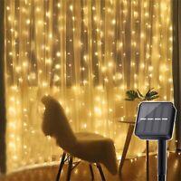 300 LED 3M*3M Solar Power Curtain Lights Fairy String Outdoor Xmas Party Garden
