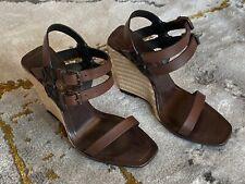 SAINT LAURENT⚡️Leather brown strap rope espadrille wedge sandals size 37.5/7.5US
