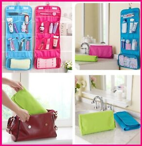 Travel Cosmetic Storage MakeUp Bag Folding Toiletry Organizer Hanging Pouch NEW