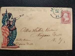 Civil War: Louisville, KY 1862 #65 Lady Liberty Patriotic Cover to Niagara Falls