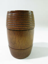 Antique Turned Maple Treenware Seed/Tack Storage Barrel Shaped Box—Slide-on Top