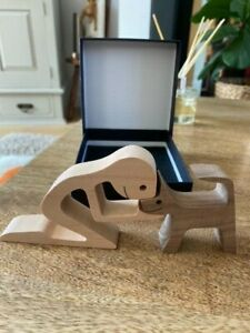 Quality Small Wood Dog & Man Kneeling - Super Cute - Cute Decoration, Figurine42