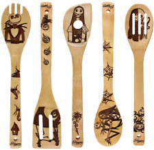 New listing Kitchen Slotted Spoon Nightmare Before Christmas Bamboo Cooking Utensil 5 Pc Set