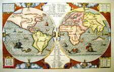 Mappamondo EBRAICO, 1571 - INCISO E DIPINTO A MANO CON ACQUERELLI cm 60x80