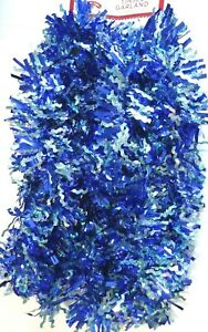 Blue and Light Blue Waves Wavy Tinsel Garland 12 Feet New