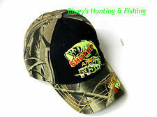 Predator mens Fishing Camo brim/black front ''Shut up and Fish'' Cap; gift