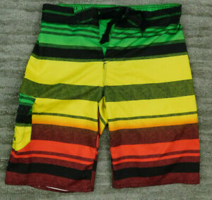 HANG TEN Men's Medium Swim Board Shorts Green Orange Red