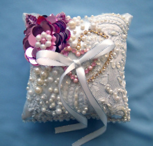 Bridal Wedding Ring Pillow. White Lace, pearl beads, sequin rose. Handwork, New