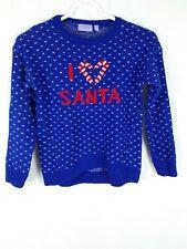 "Charlie Girl's Size L Blue Acrylic Long Sleeve ""I Love Santa"" Pullover Sweater"