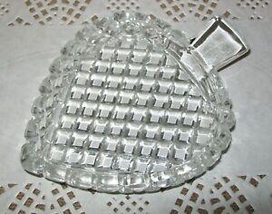 SMALL VINTAGE CUT GLASS LEAF SHAPE DISH 13.5 x 10.5cm