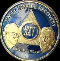 AA Founders 25 Year Medallion Sobriety Chip Gold & Ocean Breeze Blue Token Coin
