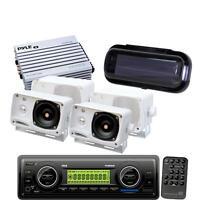 PLMR87WB Pyle New Marine USB AM FM Weatherband Radio 4 Speakers 400W Amp & Cover