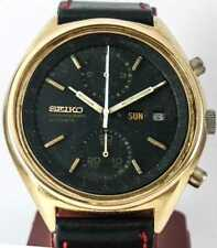 Vintage Seiko Automatic Chronograph Black Panda 6138B-8020 Men's Wristwatch 05a