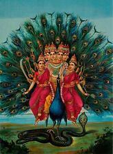 Lord Kartikeya Vintage Hindu Religious Art Canvas Giclee Print 24x32 in.