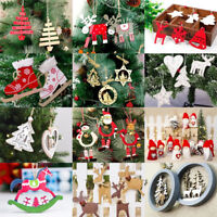 Christmas Wooden Decorations for Xmas Tree DIY Ornaments Pendants Hanging Gifts