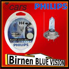 Birnen Glühbirnen Glühlampen Philips H4 Blue Vision Xenon Efect 2er Set + 2x W5W