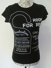 """ZARA WOMAN - BLACK 100% COTTON CAP SLEEVED """"ROOM FOR RENT"""" T-SHIRT Size EURO S"""