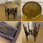 LARGE ANTIQUE INDIAN CARVED FOLDING SIDE TABLE BRASS TRAY TOP BOHO DECOR
