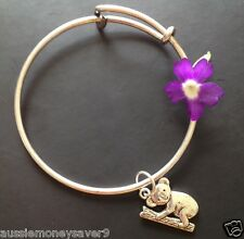 koala CHARM Adjustable Plain baby bracelet BANGLE silver plated RRP$39.99