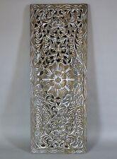 "Lotus Flower White Washed Teak Wood Carving Wall Art Thailand 35.5"" x 13.5"""