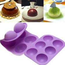 6 Half Ball Baking Silicone Mold Muffin Loaf Pan Cup Cake Non-Sticky Tray Mould