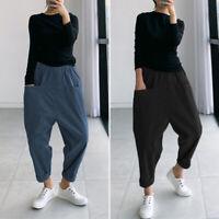 Womens Drop Crotch Long Pants Elastic Waist Baggy Wide Leg Loose Harem Trousers