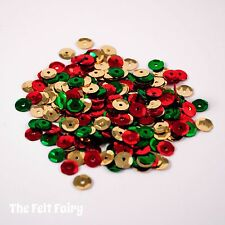 Mixed Cup Sequins 100+ Loose Sparkling Christmas Mix Gold, Green, Red