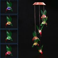 Garden Light Led Wind Chime Solar Changing Color Hummingbird Hanging Decor
