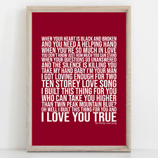 More details for stone roses ten storey love song song lyrics poster print wall art